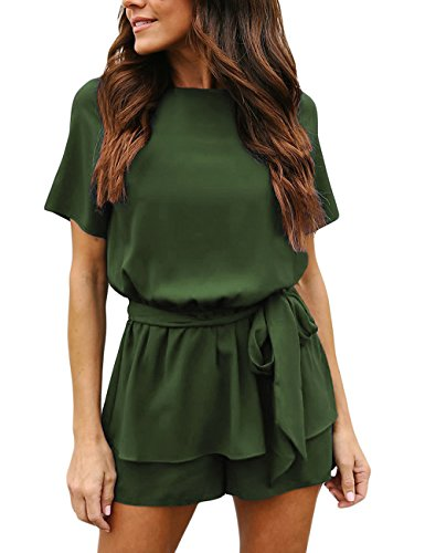 luvamia Women's Casual Army Green Short Sleeve Belted Overlay Keyhole Back Jumpsuits Romper Size Large (Fits US 12 - US 14)