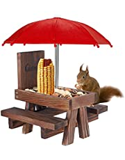 Squirrel Table Feeder with Umbrella, Lalafancy Wooden Picnic Table Feeder for Squirrels with Corn Cob Holder, Squirrel and Chipmunk Gifts for Squirrel Lovers, Built Strong from Pine Wood