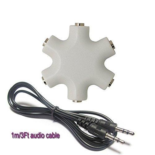 CHStars Earphone Splitter, 3.5mm 1 to 5 Stereo Speaker Audio Multiple People Sharing Adapter Converter (White)