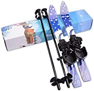 I-sport ABS Plastic Kids Beginner Ski Sets Snow Skis and Poles with Universal Bindings for Age 2-8