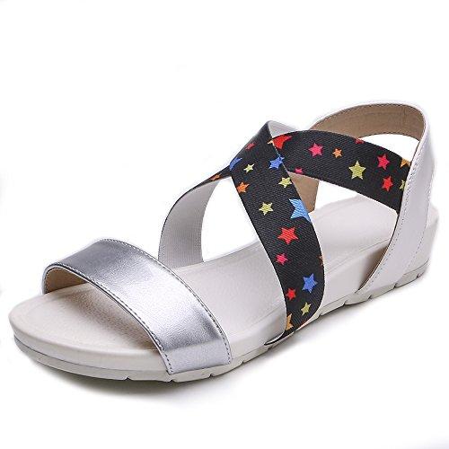 Black Sandles Fashion Summer Sandals US7 Women TONGPU Women Heeled OZSA1