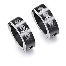 Jewelry Pair Of Men Stainless Steel Black IP Non-Piercing Clip On Earrings Laser Skull