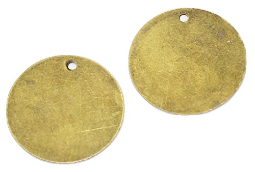 195pc Bronze Tone Round Stamping Tag Pendant Blanks, 20mm (3/4)