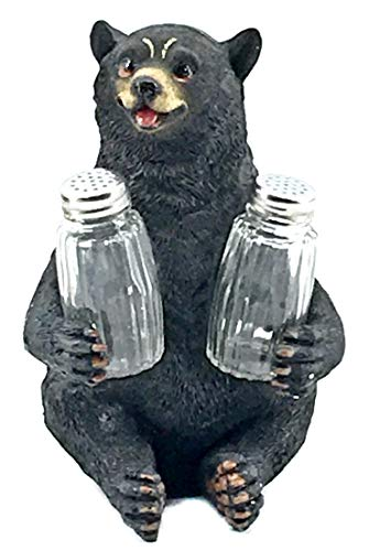 - Bellaa 29448 Decorative Black Bear Glass Salt and Pepper Shaker Set Holder Figurine Sculpture Rustic Lodge Cabin Kitchen Table Decor Centerpieces Spice Rack Decorations Teddy Bear