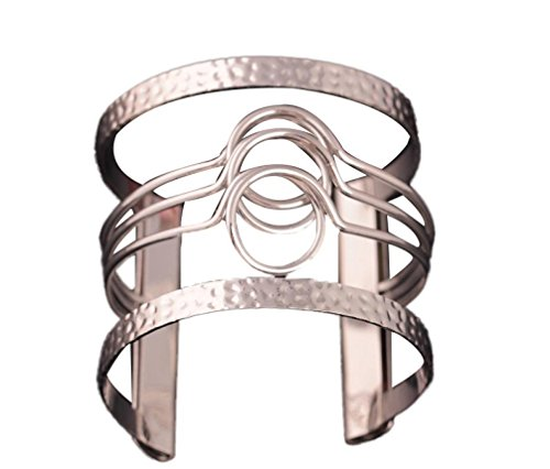 Inkach Fashion Europe Irregular Pierced Graphic Metal Cuff Armbands Bracelet (Silver) (Arm Band Jewelry)