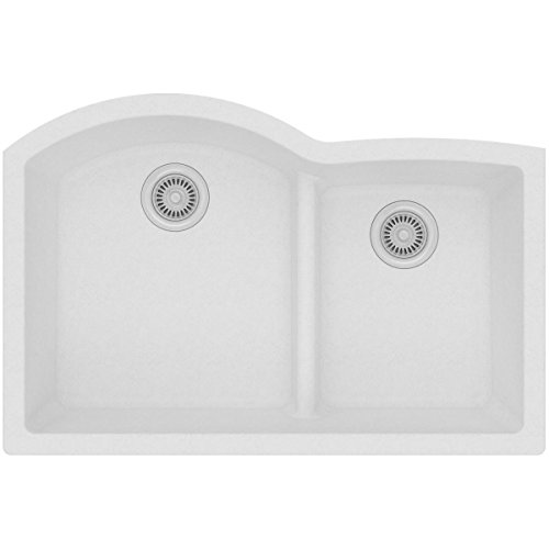 Elkay Quartz Classic ELGHU3322RWH0 White Offset 60/40 Double Bowl Undermount Sink with Aqua Divide ()