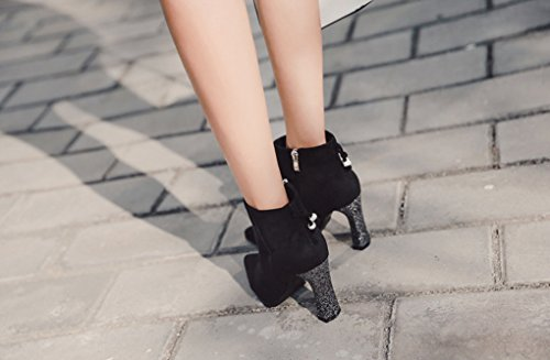 XZ Autumn and Winter Thick Heel Pointed Rhinestone High Heels Short Boots Martin Boots Bare Boots #1 Kbsfrfg