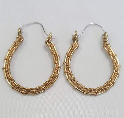 Large Bright Gold Brass Wire-Woven Wire Wrapped Elongated Hoop Earrings 1 1/2' Length