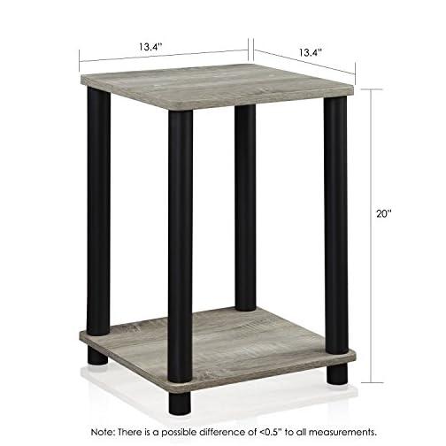 FURINNO Turn-N-Tube Haydn End Table, 1-Pack, French Oak Grey/Black
