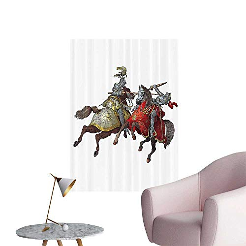 Vinyl Artwork mMiddle Age Fighters Knights with Ancient Costume Renaissance Period Easy to Peel Easy to Stick,12