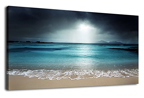 arteWOODS Canvas Wall Art Beach Sunset Grey Blue Painting Nature Pictures Panoramic Canvas Arotwork Peacefull Ocean Waves Island Wall Art for Home Office Decoration Framed Ready to Hang 20