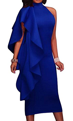 Womens Bodycon Blue Fit Dresses Long Ruffles Pencil One Shoulder Cromoncent wpRSndqfxw