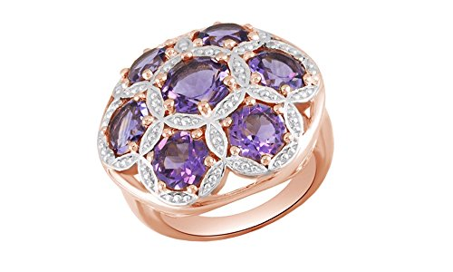 Round Cut Purple Amethyst Cluster Band Ring in 14k Rose Gold Over Sterling Silver (4.73 Cttw)