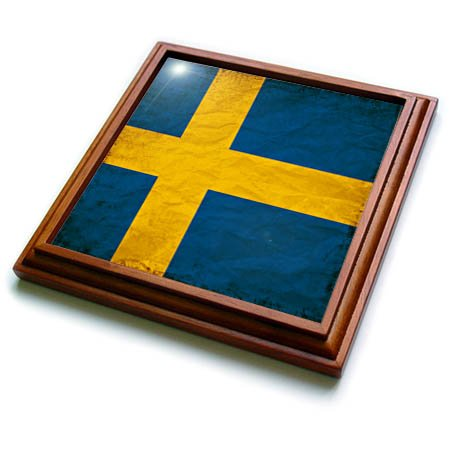 Swedish Flag Framed (3dRose Sven Herkenrath Flags - Swedish Flag Old Look Trendy Work - 8x8 Trivet with 6x6 ceramic tile (trv_255830_1))
