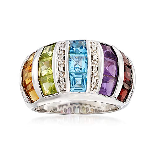 Ross-Simons 5.80 ct. t.w. Multi-Gemstone Dome Ring With Diamond Accents in Sterling Silver ()