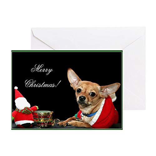 CafePress Merry Christmas Chihuahua Greeting Cards (Pk Of 10 Greeting Card (10-pack), Note Card with Blank Inside, Birthday Card Matte