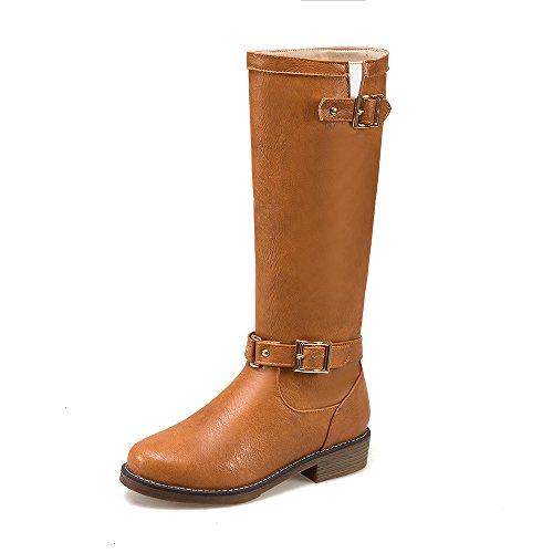 JIEEME Ladies Winter Slip-on Round Toe Block Heels Women Boots Yellow Black Knee-high Shoes Women Yellow Tkyqrk