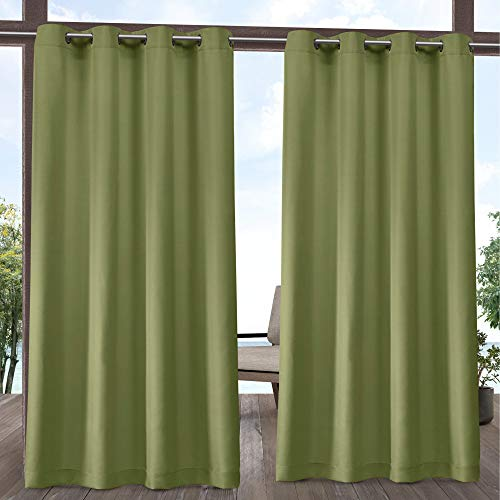 Exclusive Home Indoor/Outdoor Solid Cabana Grommet Top Curtain Panel Pair, Kiwi Green, 54x108, 2 Piece