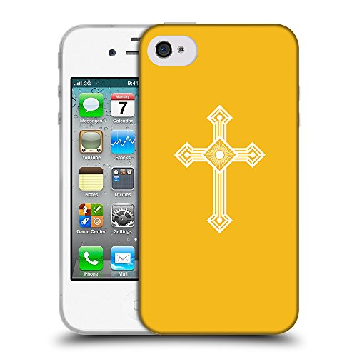 GoGoMobile Coque de Protection TPU Silicone Case pour // Q09430602 Croix chrétienne 53 ambre // Apple iPhone 4 4S 4G