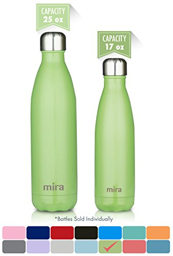 MIRA Stainless Steel Vacuum Insulated Water Bottle | Leak-proof Double Walled Cola Shape Bottle | Keeps Drinks Cold for 24 hours & Hot for 12 hours (Cactus Green, 25 oz (750 ml, 0.8 qt))