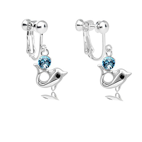 Latigerf Girl Dolphin Screw Back Clip on Earring Swarovski Elements Crystal Light Blue