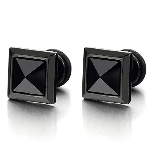 Square Black Earrings Cheater Gauges