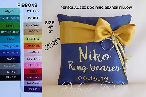 (Personalized dog Ring Bearer Pillow, Wedding pillow, Dog Ring pillow)