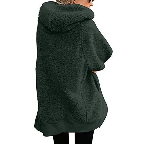 Mujer Abrigos Fashion Color Verde Encapuchado Parka Outerwear Manga Otoño Cazadoras Invierno Elegante Casuales Con Sólido Larga Cremallera Mujeres x4wPPUB5