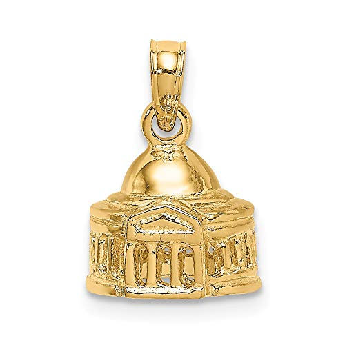 (14k Yellow Gold 3 D Jefferson Memorial Building/Washington D.c. Pendant Charm Necklace Travel Transportation Fine Jewelry Gifts For Women For Her)