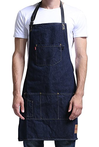 Vantoo Denim Chef Apron - Kitchen Jean Apron with Pockets and Adjustable PU Leather Straps for Men Women, Navy (Strap Smock)
