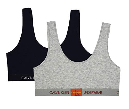 (Calvin Klein  Girl's Modern Cotton Bralette Underwear, Heather Grey, black, Medium, M ,Little Girls)