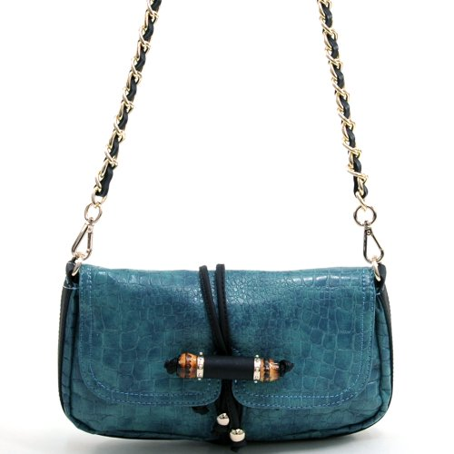 Anais Gvani Women's Small Croco Shoulder Bag w/Chain-twined Straps & Beaded Accent -Blue