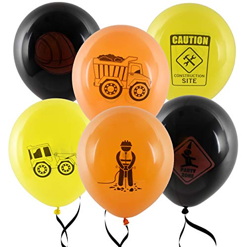 "36 Construction Balloons 12"" Latex Balloon Yellow and Black Construction Zone Builder Balloon For Kids Birthday Party Favor Supplies Decorations by Gift Boutique"
