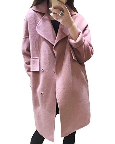 Medio Pink largo Con Abrigo De Bolsillo Mujer Solapa Chaquetas Cálido UvOwC