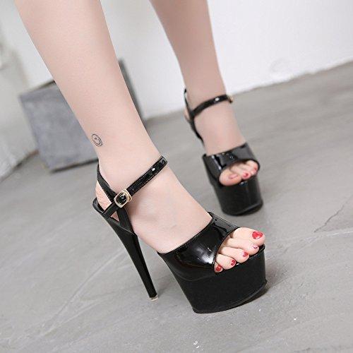 de Black sandalias tacones Sandalias 15 alto con de cm XiaoGao y pf4qOOR