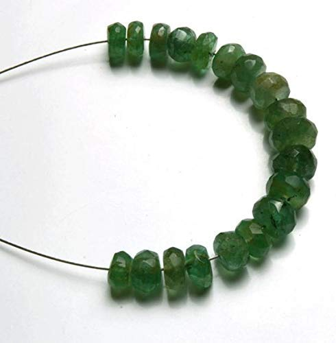 1 Strand Natural 2 Inches Stands AAAA Gems Quality 100% Natural Emerald Transparent Faceted Roundels Beads 4.5 to 6 MM by Gemswholesale