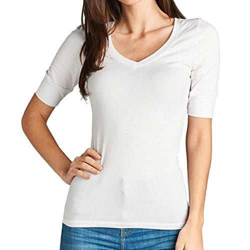 - Women's Basic Elbow Sleeve V-Neck Cotton T-Shirt Plain Top (Plus