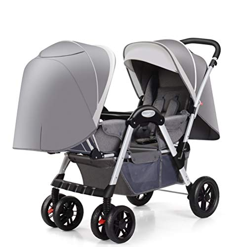 ZZLYY Double Baby Stroller by – Twin Lightweight Infant Stroller with Carry Handle – Travel Stroller – Tandem Seats,Gray