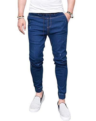 Denim Comodo Skinny Chel Vintage Uomo Dunkelblau Con Battercake Stretch On Quarti Da Elasticated Pantaloni Jeans Tre 7HxaqXO