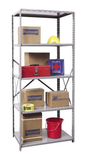 Hallowell 5510-24HG Heavy-Duty Open Hi-Tech Shelving Starter Unit with 5 Adjustable Shelves, Hallowell Gray Steel, 36