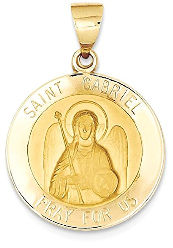 ICE CARATS 14k Yellow Gold Saint Gabriel Medal Pendant Charm Necklace Religious Patron St Fine Jewelry Gift Set For Women (Gold Saint Gabriel Medal)