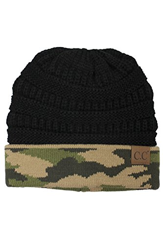Print Winter Beanie - ScarvesMe CC Hot and New Camouflage Camo Print Knit Cuff Beanie Warm Winter Hat Skully Cap (Black)