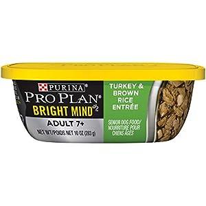 Purina Pro Plan Senior Gravy Wet Dog Food, BRIGHT MIND Turkey & Brown Rice Entree – (8) 10 oz. Tubs