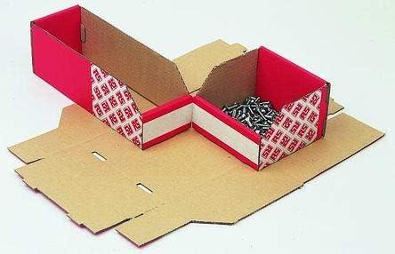 RS PRO 収納ボックス 高さ 100mm 幅 100mm 深さ 150mm 繊維板 赤 25個入 2281065