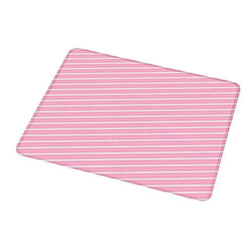 Mouse Pad Unique Custom Geometric,Cute Feminine Design Diagonal Lines in Romantic Valentines Day Themed Image,Pale Pink Cream,Mousepad Great for Laptop,Computer 9.8