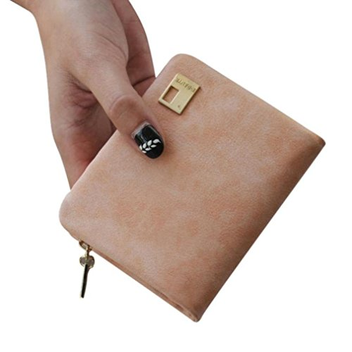 DZT1968 Women's Girl's Frosted Leather Short Cute Card Holder Change Money Wallet (Pink)
