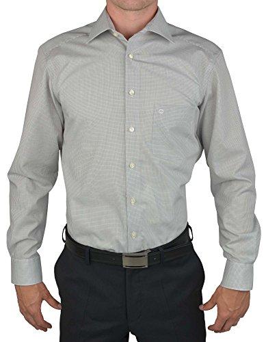 Olymp Hemd Luxor Modern Fit - Gitterkaro grau, Kragenweite:45