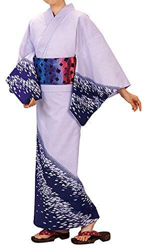 踊り衣裳 反物 表印 本絵羽ゆかた 薄紫×紫 レディース