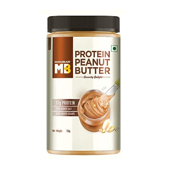 MuscleBlaze High Protein Natural Peanut Butter Unsweetened, Crunchy Delight,750g