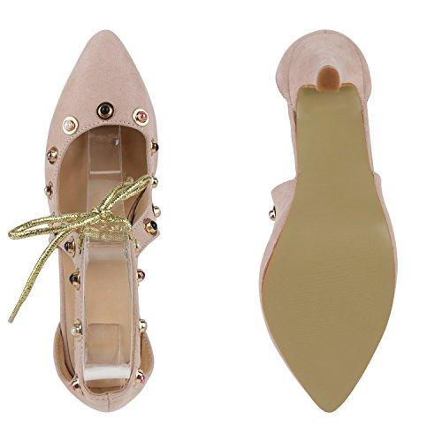 Stiefelparadies Damen Spitze Pumps mit Pfennigabsatz Perlen Metallic Flandell Creme Cabanas